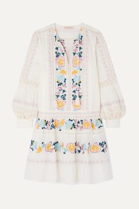 Tory Burch Boho Crochet-trimmed Embroidered Swiss-dot Cotton Mini Dress - Ivory