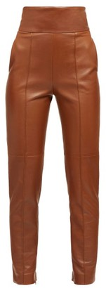 Alexandre Vauthier High-rise Leather Trousers - Dark Brown