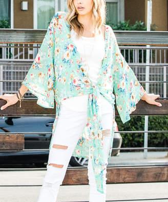 Frumos Women's Kimono Cardigans Sage - Sage Floral Tie-Front Convertible Kimono - Women & Plus