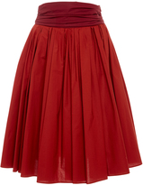 Paule Ka Cotton Poplin Full Skirt with Pockets and Ruched waistband