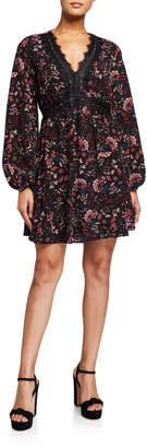Laundry by Shelli Segal Lace-Trim Floral Babydoll Dress