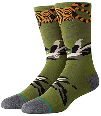 Stance Big Cat Crew (Green) Men's Crew Cut Socks Shoes