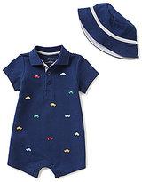 Little Me Baby Boys 3-12 Months Car-Schiffli-Embroidered Romper & Hat Set