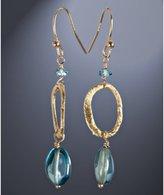 blue topaz hoop drop earrings