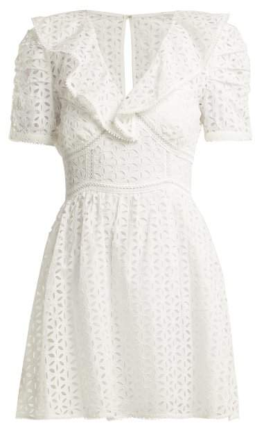 Self-Portrait Self Portrait Petal Embroidered Cotton Mini Dress - Womens - White