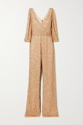 Jenny Packham Teodora Cold-shoulder Embellished Chiffon Jumpsuit - Gold