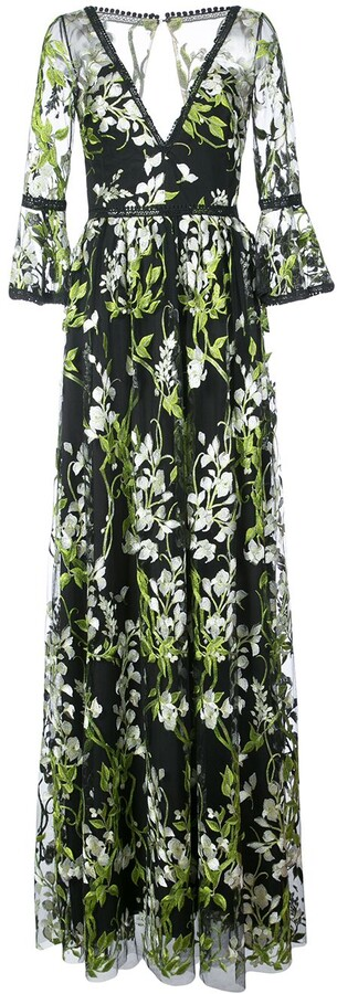 Marchesa Embroidered Trumpet Sleeve Gown