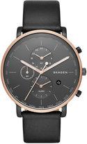 Skagen Men's Hagen World Time Black Leather Strap Watch 42mm SKW6300