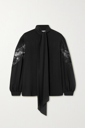 Givenchy - Pussy-bow Lace-trimmed Silk-chiffon Blouse - Black