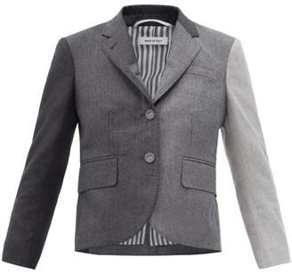Thom Browne Gradient Wool-flannel Cropped Jacket - Dark Grey