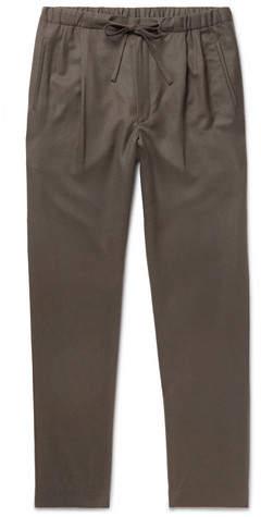 Camoshita Tapered Pleated Wool Drawstring Trousers