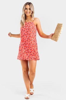 francesca's Oletta Floral Shift Dress - Coral