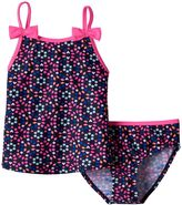 Osh Kosh Girls 4-6x Bow Strap Tankini Top & Bottoms Swimsuit Set
