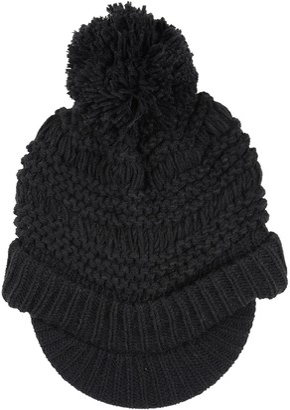 Pia Rossini Ladies Willow Hat Black Chunky Knit Peak Brim Pom Pom Bobble Winter Accessory