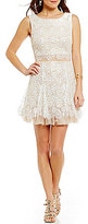 B. Darlin Sequin Lace Scalloped-Hem Popover Skater Dress