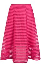 Quiz Pink Mesh Ribbed Midi Skirt