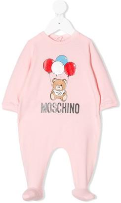 MOSCHINO BAMBINO Logo Teddy Print Babygrow
