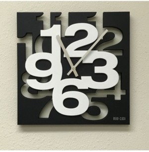 Creative Motion 3D Numbers Cut Out and Raise Square Design Clock