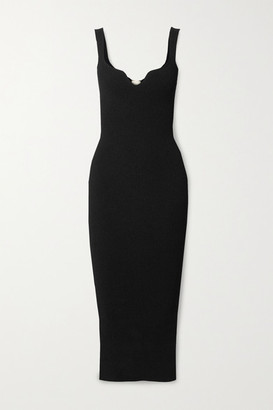 KHAITE Nina Ribbed-knit Midi Dress - Black