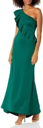 Jessica Howard JessicaHoward Women's Ruffled One Shoulder Sheath Gown