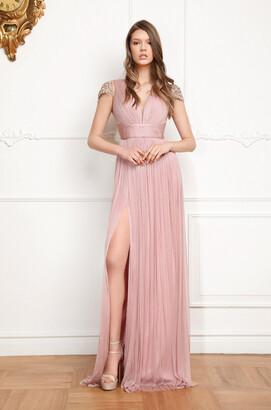 Cristallini Cap Sleeve Sheer Back Evening Gown