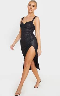 PrettyLittleThing Black Glitter Sleeveless Cup Detail Midi Dress