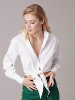 Diane von Furstenberg Collared Front Tie Shirt
