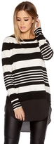Quiz Cream And Black Light Knit Stripe Jumper