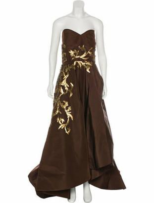 Oscar de la Renta Embellished Strapless Gown Brown