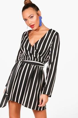 boohoo Double Wrap Stripe Skater Dress