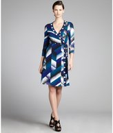 BCBGMAXAZRIA purple and teal printed jersey knit wrap dress