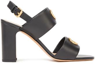 Valentino Eyelet-embellished Leather Slingback Sandals
