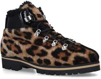 Yves Salomon Shearling Leopard Print Boots
