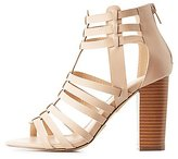 Charlotte Russe Caged Huarache Chunky Heel Sandals