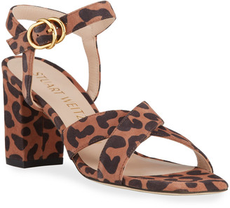 Stuart Weitzman Analeigh 75 Easy Square-Toe Leopard-Print Suede Sandals