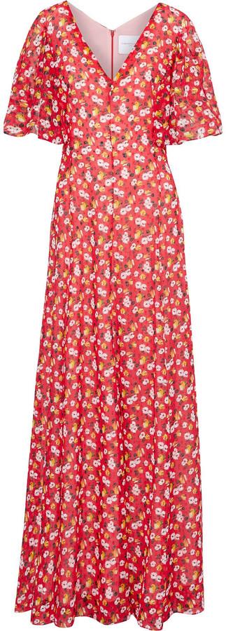 Carolina Herrera Floral-print Fil Coupe Chiffon Gown
