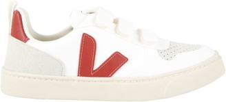 Veja White Sneakers For Kids With Red Logo