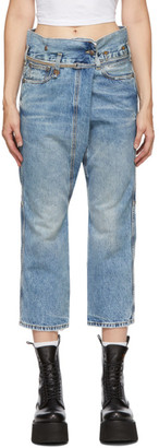 R 13 Blue Staley Cross-Over Jeans