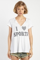 Rebel Yell Sports Slit Crew Neck in White