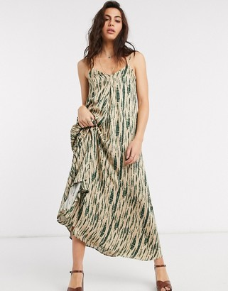 Object maxi cami dress with tie back in smudge print