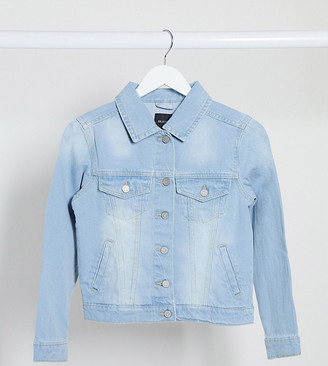 Brave Soul Petite bloom denim jacket in bleach wash