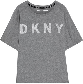 DKNY Glittered Printed Stretch Cotton And Modal-blend Jersey T-shirt