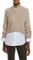 Lafayette 148 New York Cropped Open-Back Kimono Sweater, Taupe Multi