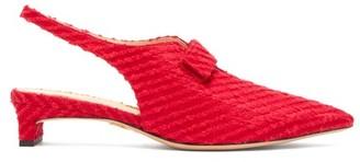 Emilia Wickstead X Charlotte Olympia Slingback Boucle Pumps - Womens - Red