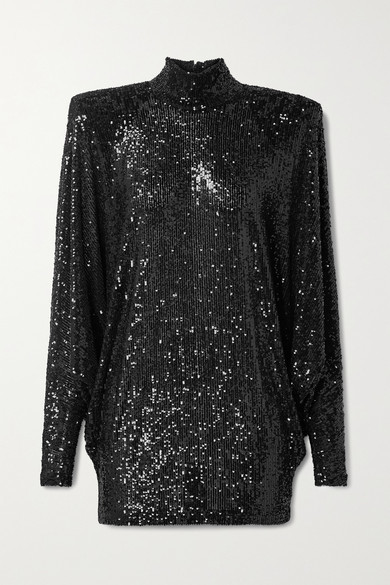 Thumbnail for your product : Naeem Khan Oversized Sequined Knitted Turtleneck Top - Black