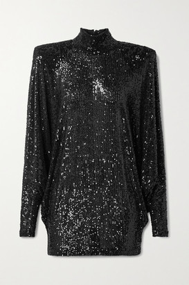 Naeem Khan Oversized Sequined Knitted Turtleneck Top - Black
