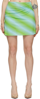 MAISIE WILEN Blue and Green Ruched Miniskirt