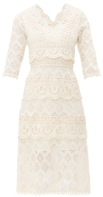 Sea Laurel Tiered Guipure-lace Dress - Womens - White