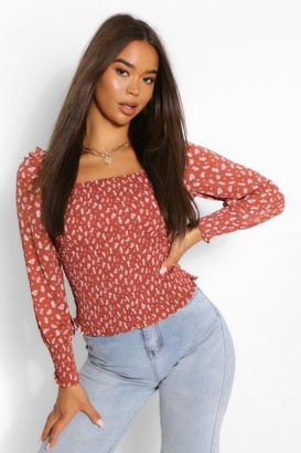 boohoo Woven floral shirred square neck top