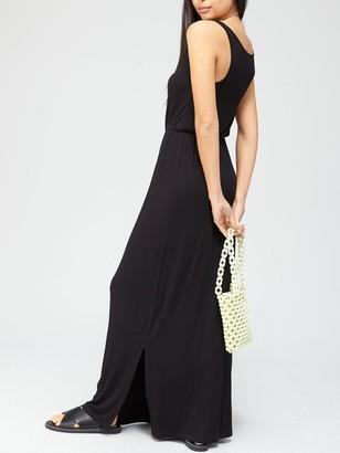 Very Channel Waist Jersey Maxi Dress - Black
